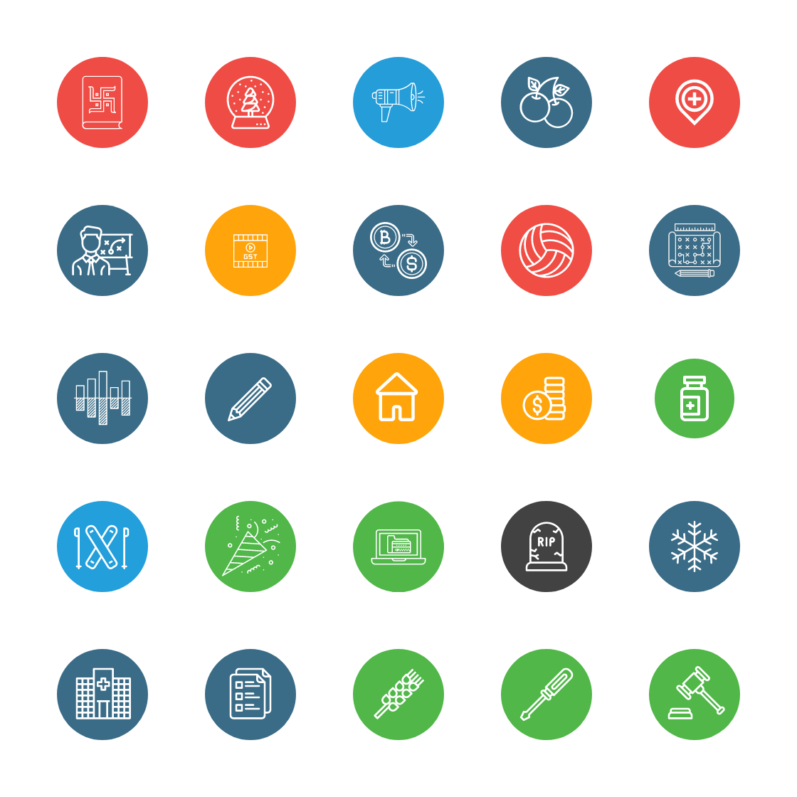 Round Color Line Icons Bundle