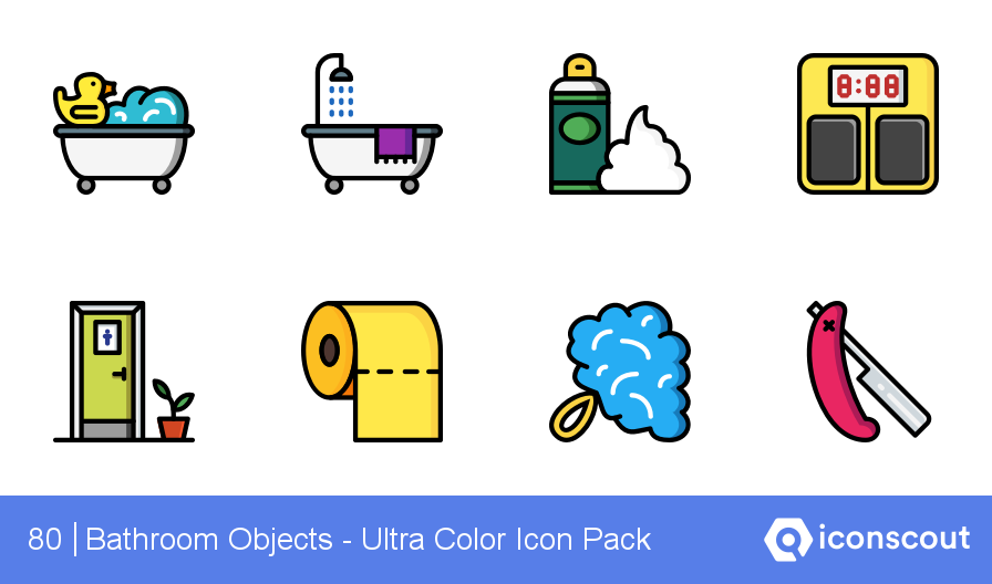 Download Bathroom Objects Ultra Color Icon Pack Available In Svg