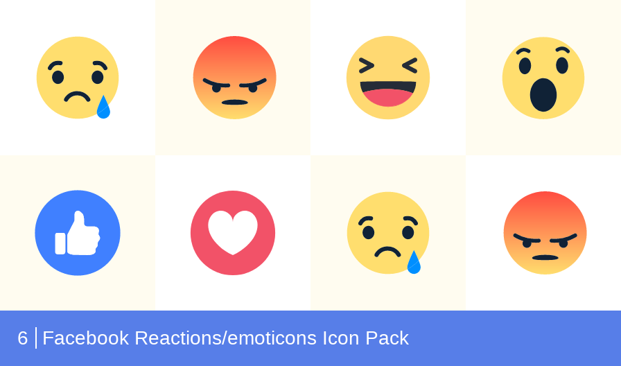 Download Facebook Reactions/emoticons Icon pack - Available in SVG