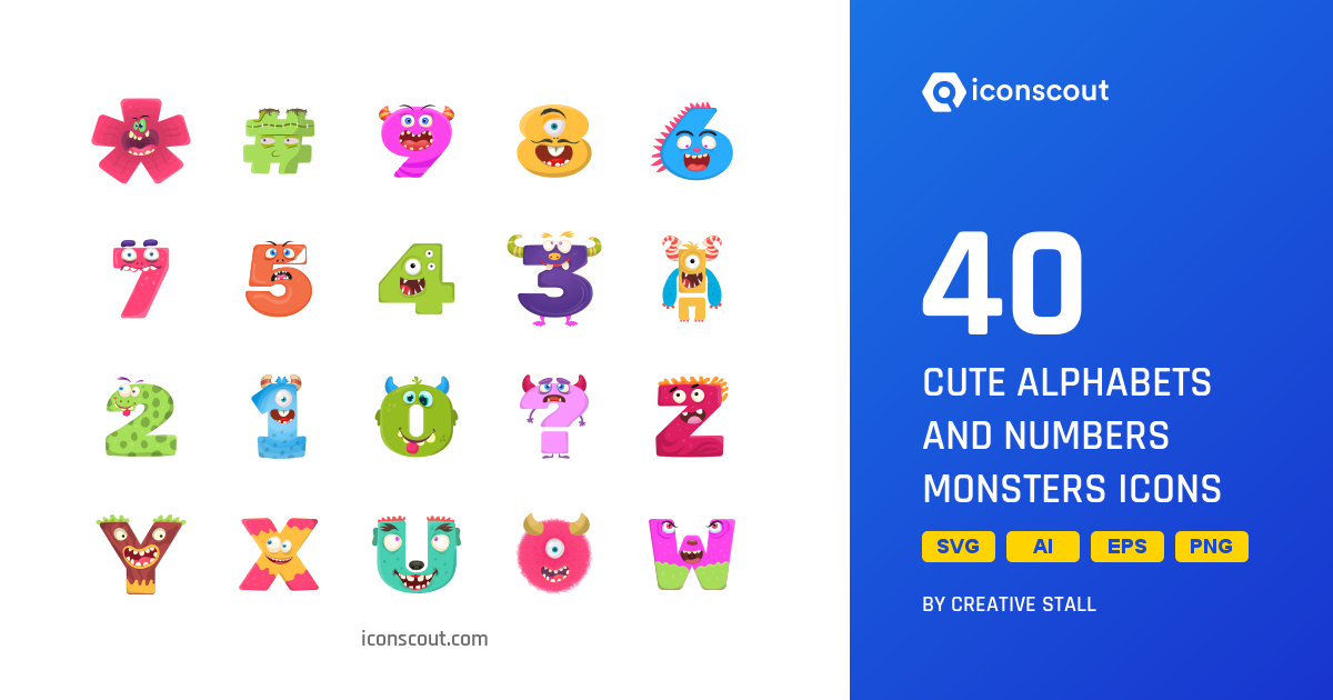 Download Download Cute Alphabets And Numbers Monsters Icon pack ...