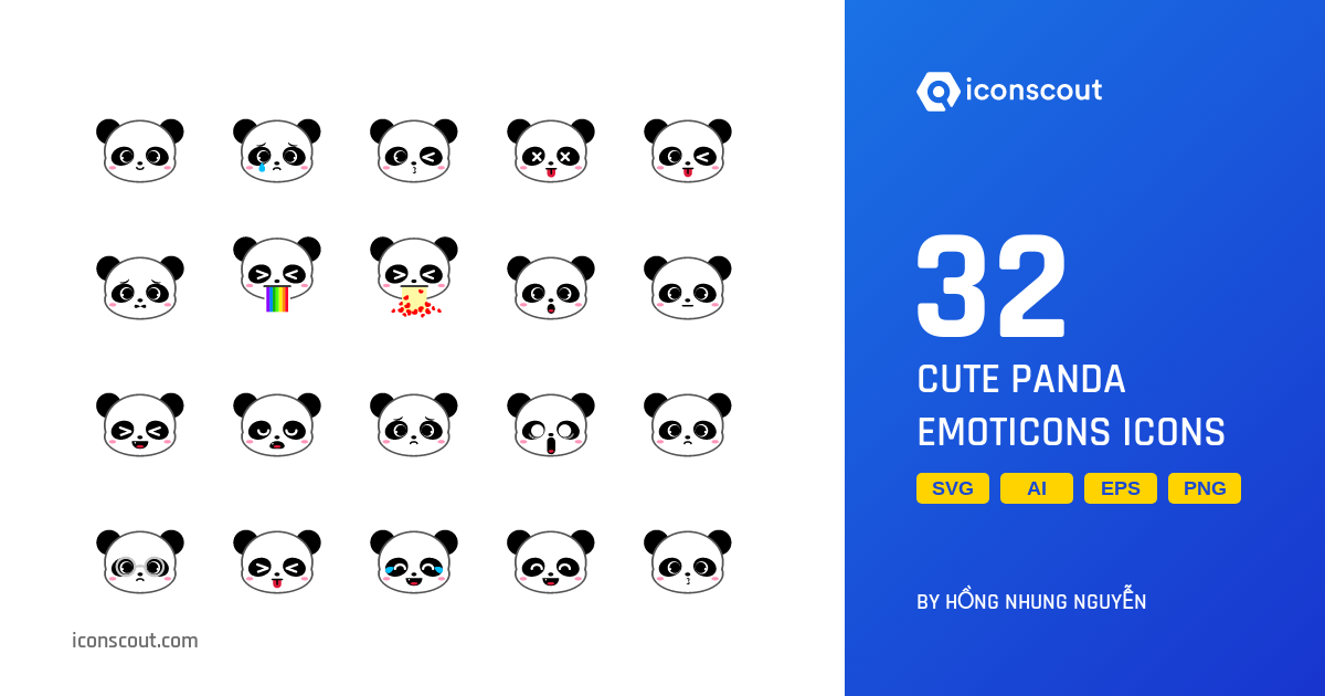 Download Download Cute Panda Emoticons Icon pack - Available in SVG ...