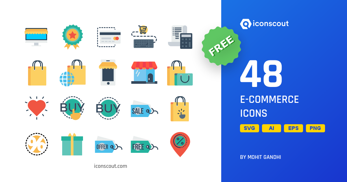 Free E-commerce icon pack by Mohit Gandhi on Iconscout