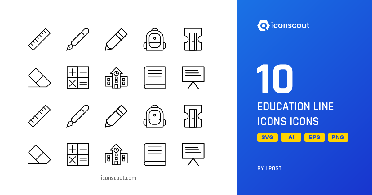 Download Education Line Icons Icon pack - Available in SVG, PNG, EPS, AI &  Icon fonts