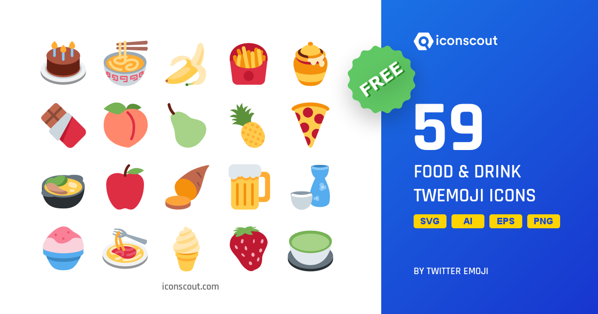 Food & Drink free icon pack by Twitter Emoji on Iconscout