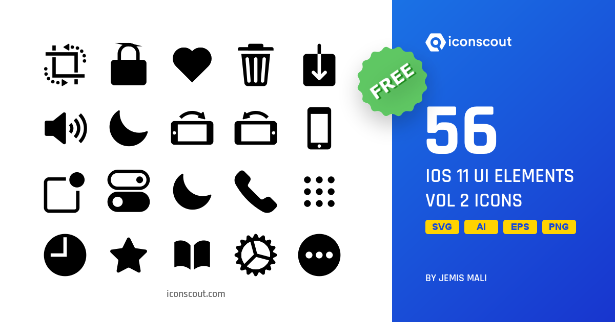 Download IOS 11 UI Elements Vol 2 Icon pack - Available in