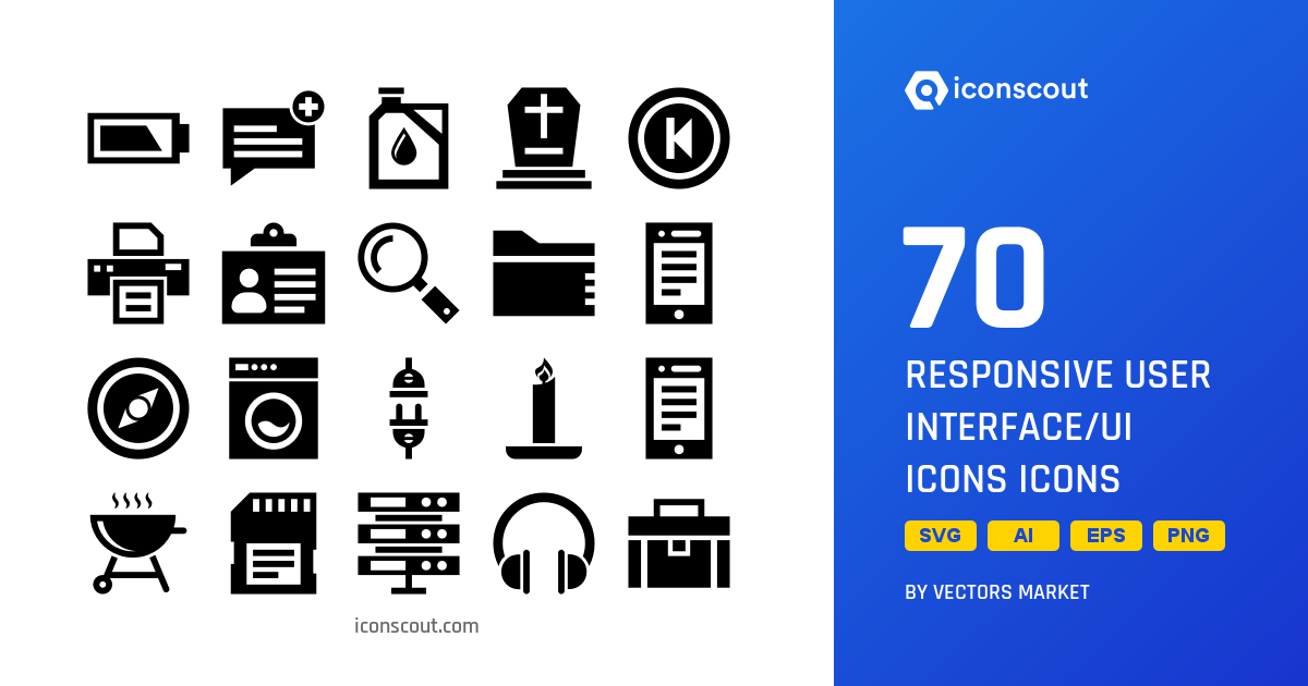 Download Responsive User Interface/UI Icons Icon pack - Available in SVG,  PNG, EPS, AI & Icon fonts