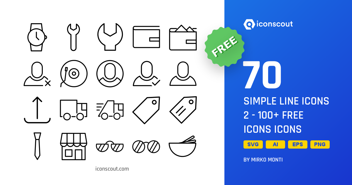Download Simple Line Icons 2 - 100+ Free Icons Icon pack - Available