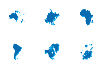 3D Continent Map Icon Pack