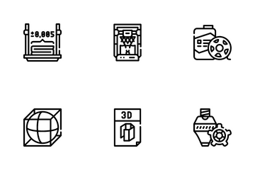 3d Printing Equipment Icon Pack