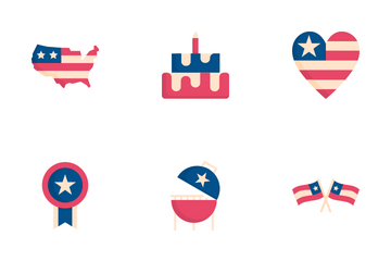 4th Of July And Independence Day. Icon Pack