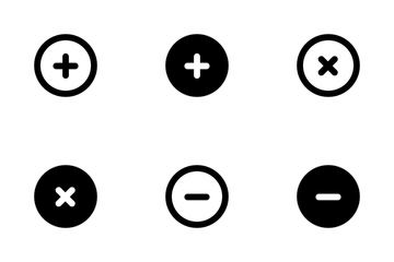 Add, Remove, Delete Buttons Icon Pack