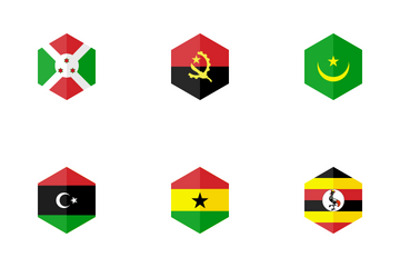 Africa Hexagon Flag Icon Pack