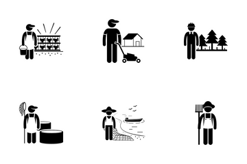 Agricultural Field Occupation Icon Pack