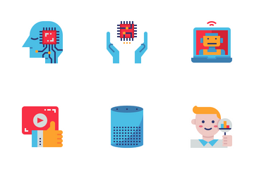 AI Artificial Intelligence Flat Icon Pack