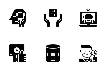 AI Artificial Intelligence Glyph Icon Pack