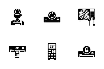Air Conditioner Glyph Icon Pack