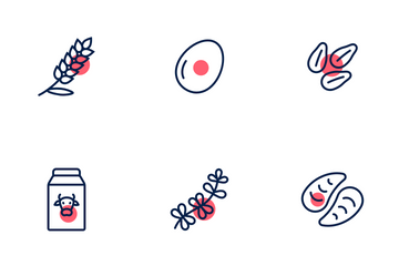 Allergens With Red Accent Icon Pack