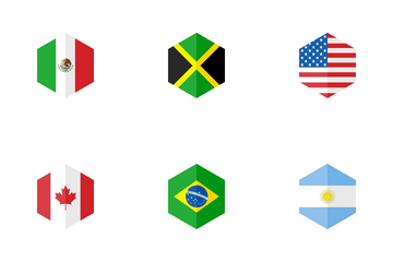 America Hexagon Flag Icon Pack