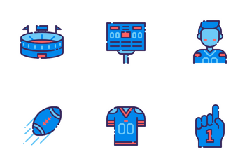 American Football Filled Outline Icon Pack