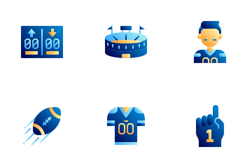 American Football Flat Colors Icon Pack