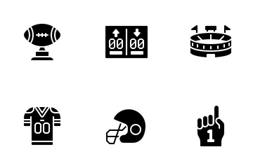 American Football Glyph Icon Pack