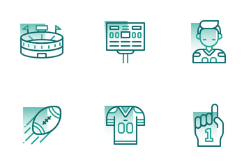 American Football Shape Colors Icon Pack