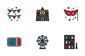 Amusement Park Fill Outline Icon Pack