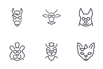 Аnimals Hipsters Thinline Icon Pack
