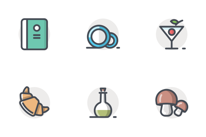 App/Food Drink Bolt Line Round Icon Pack