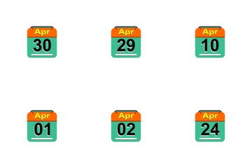 April Calendar 2017 -4- Flat Icon Pack
