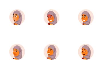 Arab Woman Avatar Icon Pack