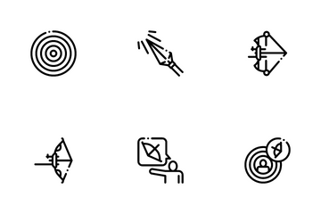 Archery Activity Sport Icon Pack