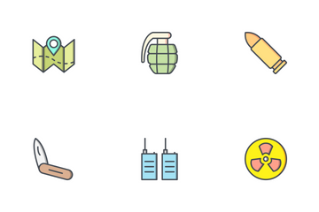 Army And Military Filled Outline Icon Pack