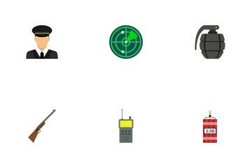 Army And Military Flat Icon Pack