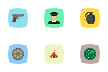 Army And Military Flat Curve Bg Icon Pack