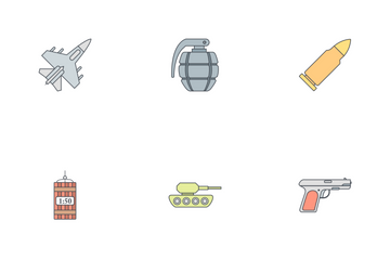 Army And Military Flat Outline Icon Pack
