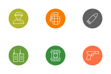Army And Military Line Circle Icon Pack