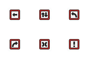 Arrow Traffic Location Road Icon Pack