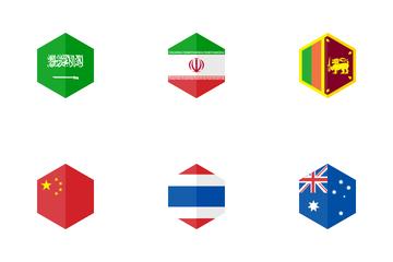 Asia Hexagon Flag Icon Pack