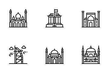 Asian Countries Landmark Icon Pack