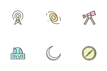 Astronomy Filled Outline Icon Pack