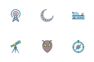 Astronomy Flat Outline Icon Pack