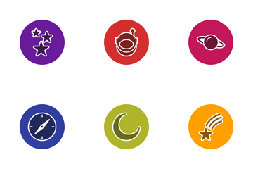 Astronomy Glyph Circle Icon Pack