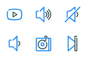 Audio Video Colored Line Icon Pack