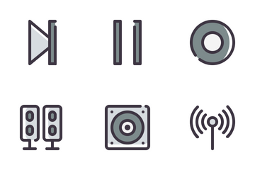 Audio Video Filled Line Icon Pack