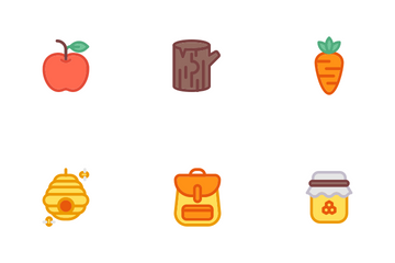 Autumn Two Line Colours Icon Pack