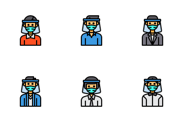 Avatar With Face Shield Icon Pack