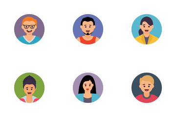 Avatars Flat Circle Icon Pack
