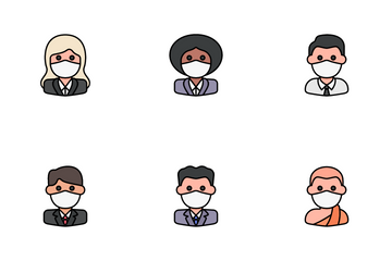 Avatars With Medical Masks Icon Pack