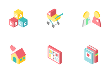 Baby And Pregnancy Isometric - New Life Icon Pack